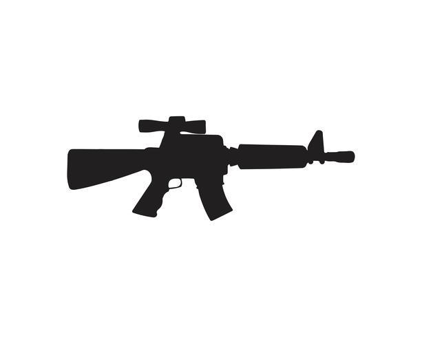Schwarze Farbe des Gewehrschattenbildvektors vektor