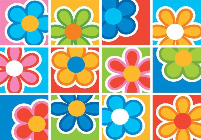 Helle spielerische Blumen-Hintergrund-vektor-Satz vektor