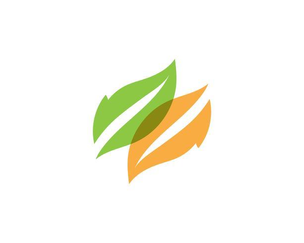 Logoer av grön trädblad ekologi vektor