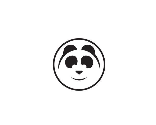 Panda-Logo Schwarzweiss-Kopf vektor