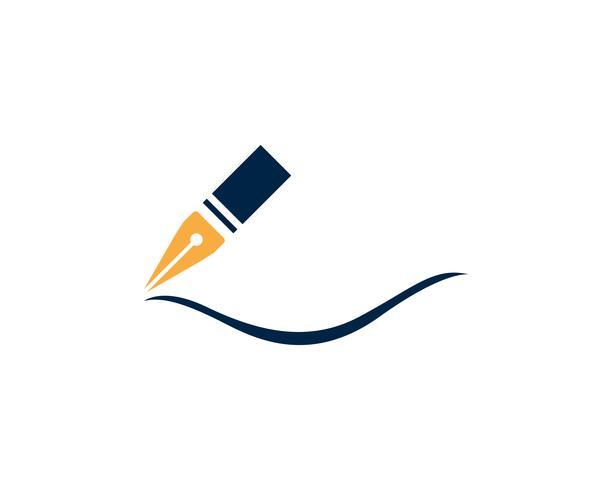 Schreibfeder Logo Vorlage vektor