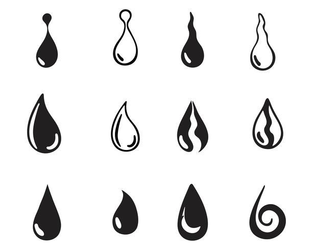 Wassertropfen schwarz n Farbe Logos vektor