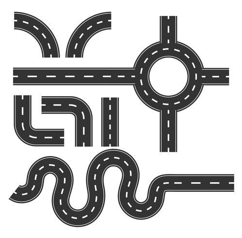 Straßenmustersatz, Kurve für die Zuordnung des infographic Konzeptes der Reise. vektor