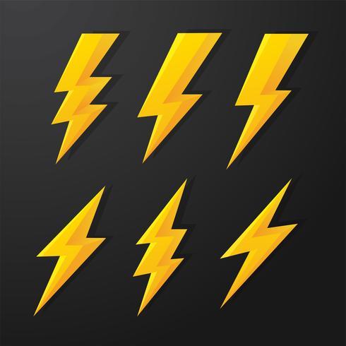 Thunder och Bolt Lighting Flash Vector Correction Set. isolera på vit bakgrund.
