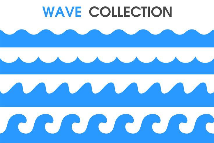 Ocean vågor i en enkel tecknad stil. vektor
