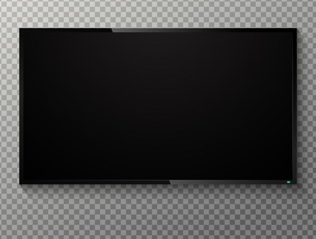 Realistisk blank svart skärm TV På en transparent bakgrund. vektor