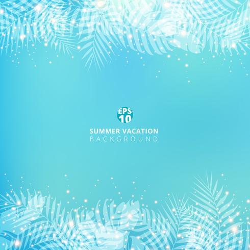 Sommarblå suddig bakgrund med header footers palmblad. vektor