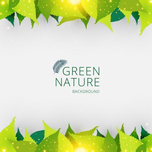 Schablonentitel- oder -fußgrün lässt Naturkonzepthintergrund. vektor