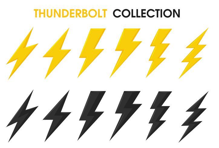 Thunder och Bolt Lighting Flash Vector Collection Set. isolera på vit bakgrund.