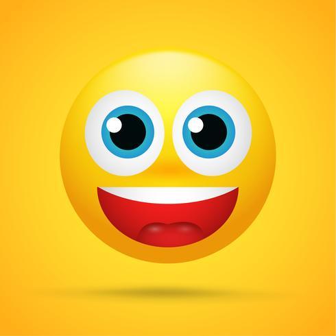 Happy Cartoon Emoticons war aufgeregt, überrascht auf einem leuchtend gelben Hintergrund vektor