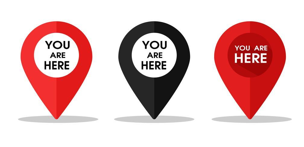 Pin-ikon för att berätta platsen på kartan eller GPS. Vektor illustration