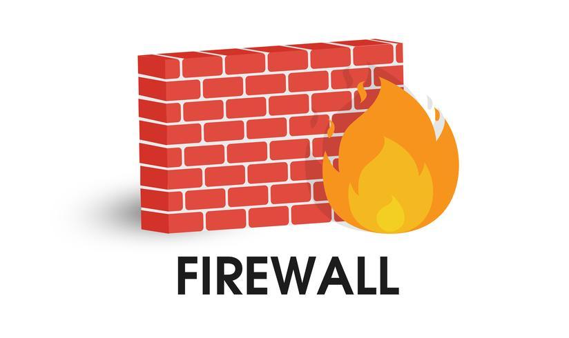 Ikon för nätverkets brandvägg. Illustration Vektor på vit bakgrund.