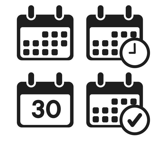 Kalenderikon som anger datum för möten. vektor