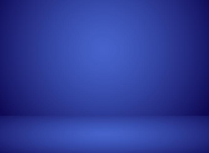 Studiorumsinteriör blå färgbakgrund med belysningseffekt. vektor