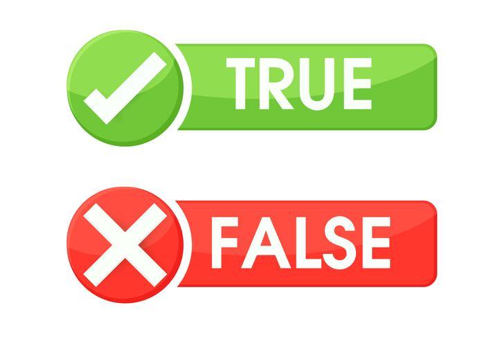 Sann och falska symboler accepteras avvisas för utvärdering. Vektor Enkel och modern stil.