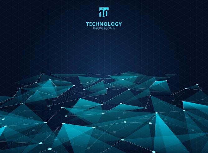 Blaue Dreiecke der abstrakten Technologie Farbund niedriges Polygon mit Linien, die Punkte verbinden, strukturieren Perspektive auf Gitterhintergrund. vektor