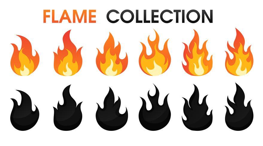Eld flamskollektion platt tecknad stil. vektor illustration. Tryck