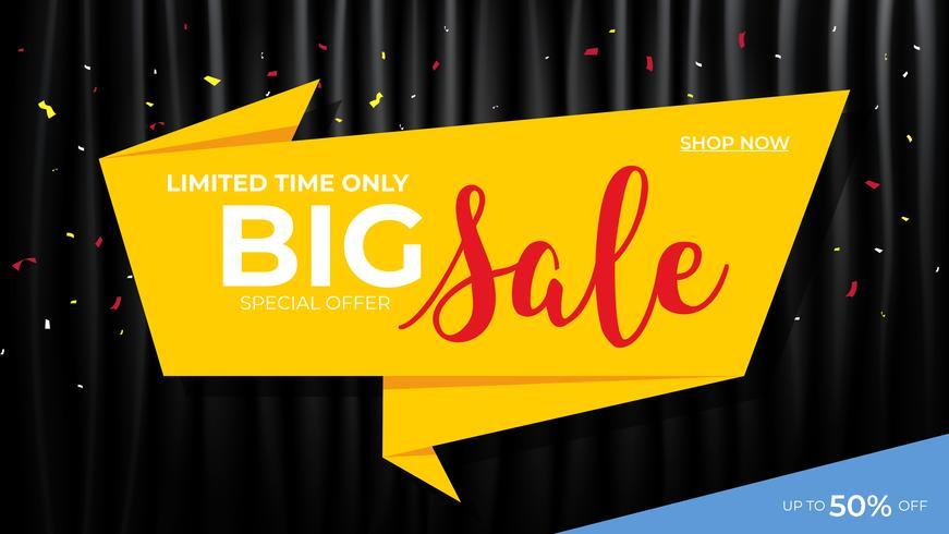 Verkauf Banner Vorlage. Origami mit schwarzem Vorhanghintergrund. Rabatt-Promotion-Layout-Konzept. vektor