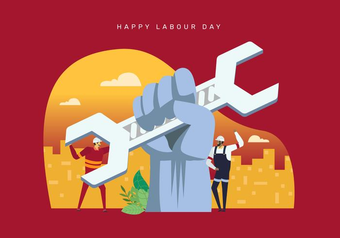 Hands Up Labor Day Concept Illustration Bakgrund vektor