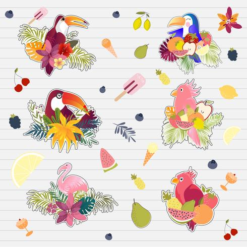 Sommerdrucke, Aufkleber, tropisches Fahnenpalmblattvogel-Vektorbild des Sommers. vektor