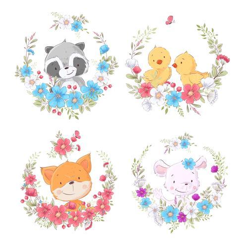 Cartoons süße Tiere in Blumenkränzen. Vektor
