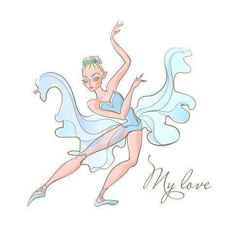 Mädchen Ballerina. Ballett. Eine Tänzerin in einem blauen Kleid. Meine Liebe. Inschrift. Vektor. vektor