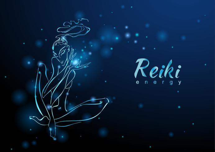 Reiki Energi. Flickan med flödet av energi. Meditation. Alternativ medicin. Esoterisk. Vektor