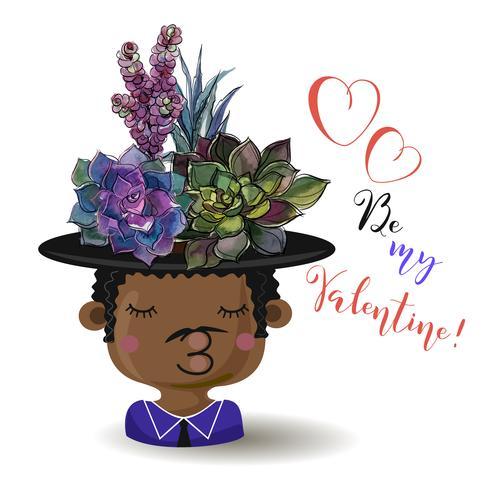 Glad alla hjärtans dag. Pojke med blommor succulenter. Vattenfärg. Vektor. vektor