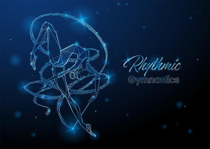 Rytmisk gymnastik. En gymnast med ett band. Futuristisk neon glödande illustration. Vektor