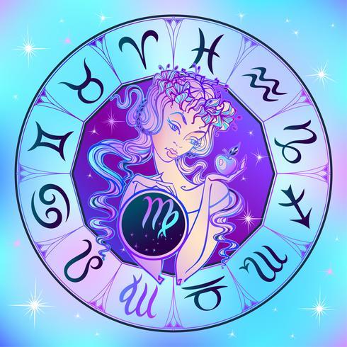 Zodiac sign Virgo en vacker tjej. Horoskop. Astrologi. vektor