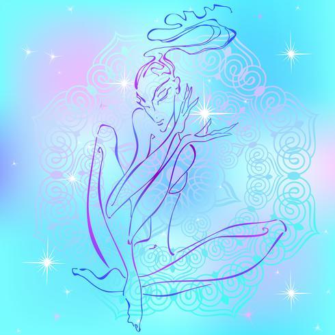 Meditation. Tjej mediterar. Reiki energi. Healing. Esoterikern. Vektor