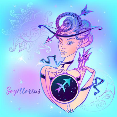 Stjärntecken Skytten En vacker tjej. Horoskop. Astrologi. Vektor. vektor