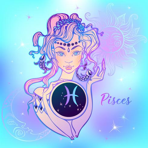 Sternzeichen Fische ein schönes Mädchen. Horoskop. Astrologie. Vektor. vektor
