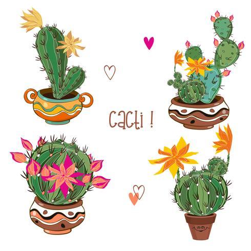 Set av blommande kaktusar i lerkrukor. Vektor