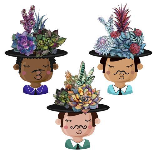Set med roliga krukor i form av pojkar med buketter av succulenter. vektor