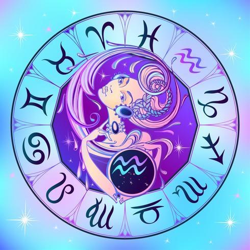Sternzeichen Wassermann ein schönes Mädchen. Horoskop. Astrologie. Vektor