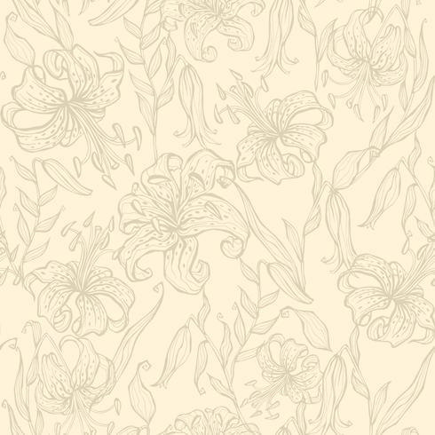 Nahtloses Muster. Lilien auf einem Vanillehintergrund. Vektor