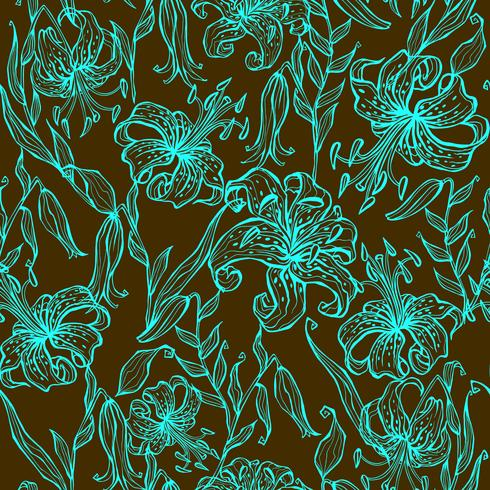 Nahtloses Muster. Türkislilien auf einem braunen Hintergrund. Grafik. Vektor. vektor