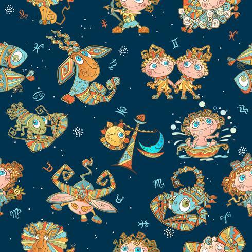 Nahtloses Muster mit Sternzeichen für Kinder. Vektor. Tierkreiskreise. vektor