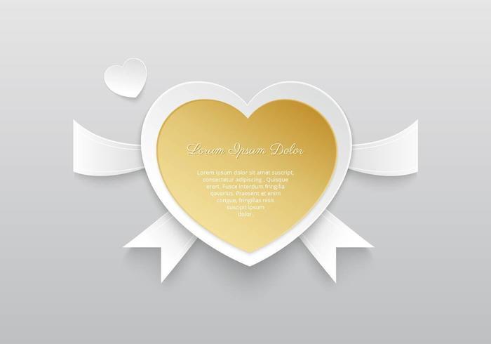 Guld hjärta vektor bakgrund