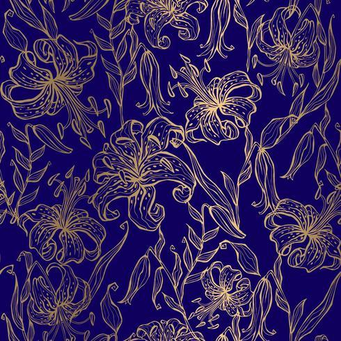 Goldene Lilien auf einem dunkelblauen Hintergrund. Nahtloses Muster. Vektor