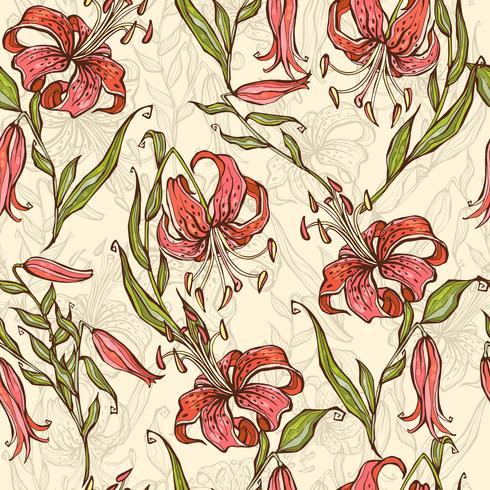 Seamless mönster med Tiger liljor. Vektor illustration