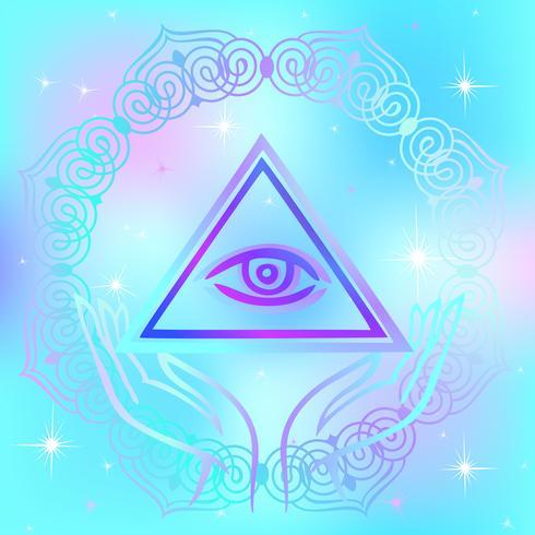 Heligt tecken Det allsynande ögat. Andlig energi. Alternativ medicin. Esoterisk. Vektor. vektor