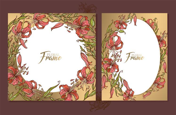 Set med guldbröllopsramar kort med en bukett liljor. vektor