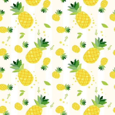 söt hand rita klotter sommar ananas frukter mönster sömlös bakgrund vektor
