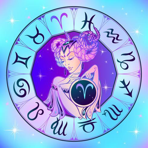 Zodiac Sign Vädur en vacker tjej. Horoskop. Astrologi. Vektor. vektor