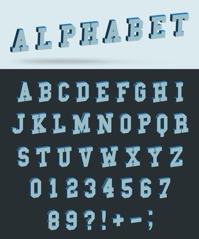 Isometrischer Alphabetguß mit Buchstaben und Zahlen des Effektes 3d vektor