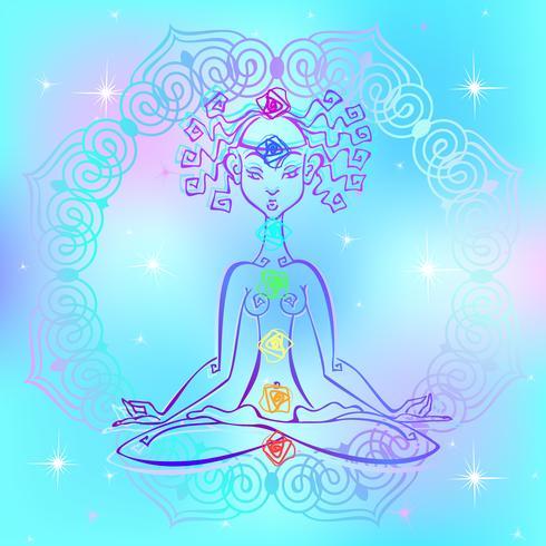 Mädchen im Lotussitz und Chakren des Menschen. Reiki-Energie. Vektor