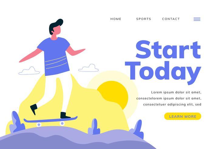 Sport Landing Page Mit Skate Mann Mit Landschaft vektor