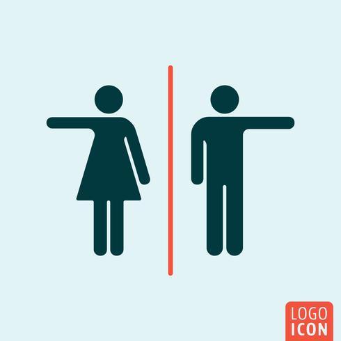 Man och kvinna ikon. Toalett, toalett, toalett symbol. Man och kvinna, könstecken. vektor